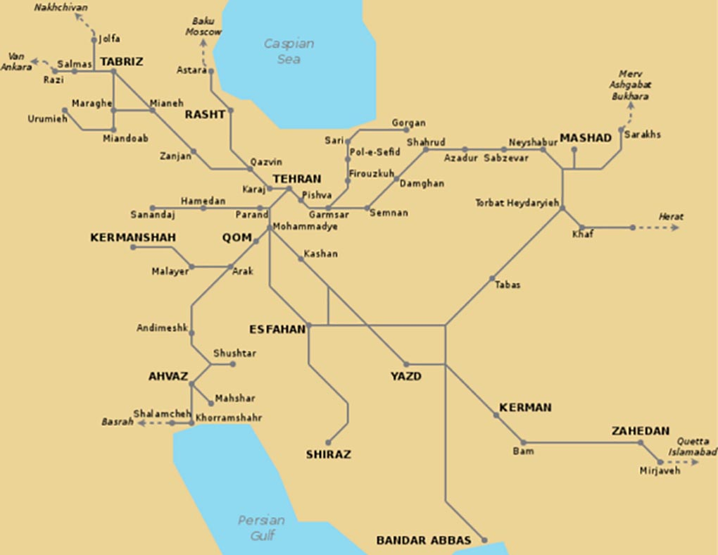carte des trains en iran